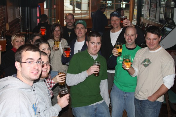 Enjoying a pint after decorating in Manchester, NH with Harpoon NH representative Joe O'Connell (2nd from right in green shirt)